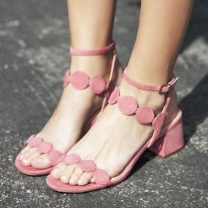 Strappy pink sandals with a block heel
